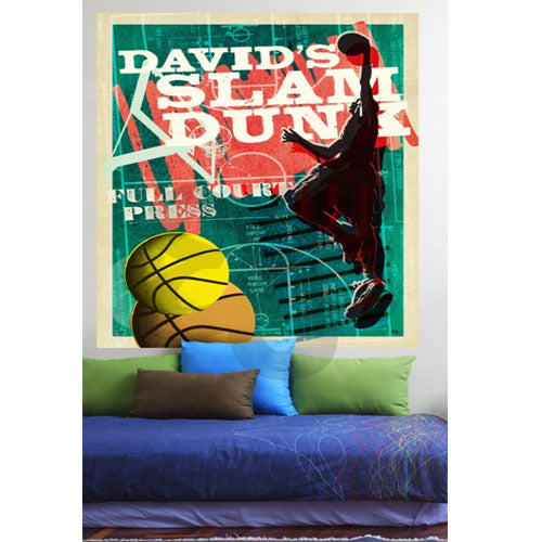 slam dunk wall decal shown with green backgroudn player in black with orange yellow basketballs with personalized with David's Slam Dunk in white