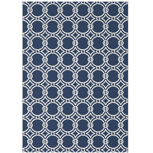 lula wallpaper in navy showing circle repeating pattern linked together white on top of navy