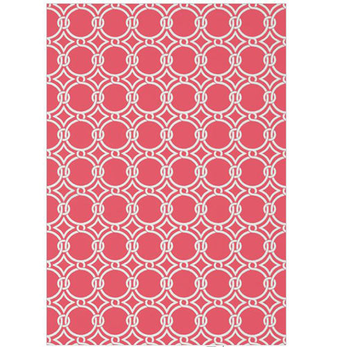 lula wallpaper featuring a circle pattern linked together in white over raspberry
