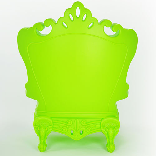 back of trudy youth chair shown in bright lime featuring a european style made from recycled polyethylene