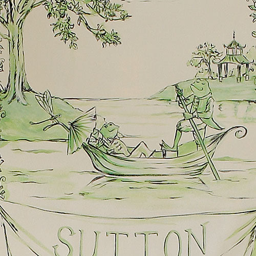 close up of two green frogs in boat personalized with Sutton