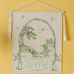 green frog personalized wall hanging is painted on a cream background with variations of green paint showing two frogs in a boat with a vine border and personalized with Sutton