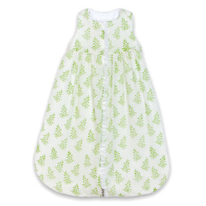 sage green sleep sack is printed in a green vine print with a full zipper front and tank type arm holes