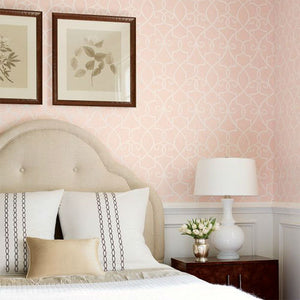 spade wallpaper in pink featuring a unique scroll spade design in white