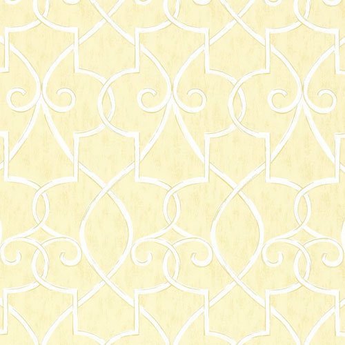 spade wallpaper in yellow featuring a unique scroll spade design in white