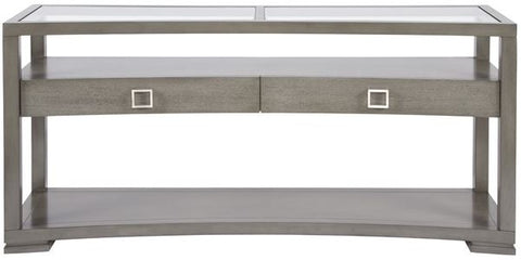 harley sofa table shown in gray with silver square drawer hardware with glass tops with two drawers