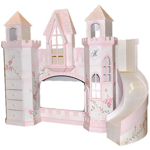 anastasia castle bed with slide on the right with castle turrets, twin over twin
