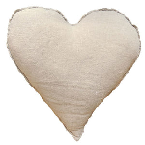 "our love pillow is handstitched in a heart shape in linen and size is 24"" x24"""