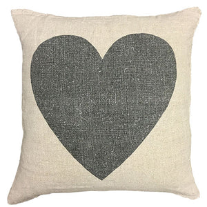 love pillow black features a black heart centered on a canvas background sized to 24 x 24