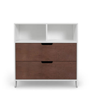 mateo dresser shown with two drawers in walnut and base in white.  Two cubbies are located in white on top.