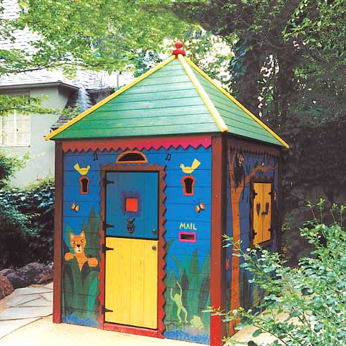 jungle clubhouse with green roof, yellow trim and red scalloped trim with tiger, butterflies, a monkey in a tree, and frogs with a dutch door and mail slot
