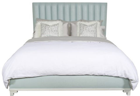 jenna king blue shown in light blue upholstery with white linens