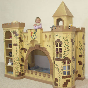 elijah castle twin over twin bunk bed shown in yellow with crackle finish and handpainted vines