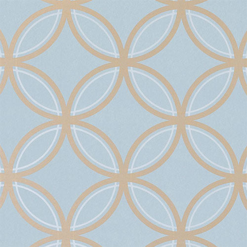 close up of chloe wallpaper in metallic on slate shows circle pattern in gold on blue background
