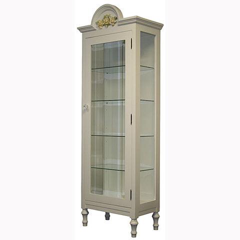 alexandra display cabinet has four glass helves with glass door with glass knob and handpainted yellow flower applique at the very top with sculpted furniture feet