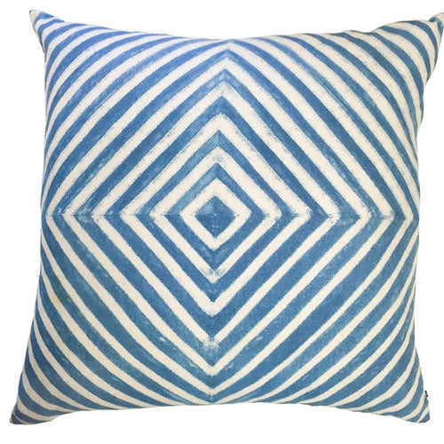 "blair pillow features a diamond blue and white pattern sized to 24"" x 24"""