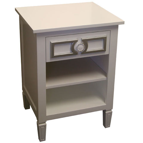 diaz night stand shown in swiss coffee with silver lines and rhinestone circle accent featured on top drawer