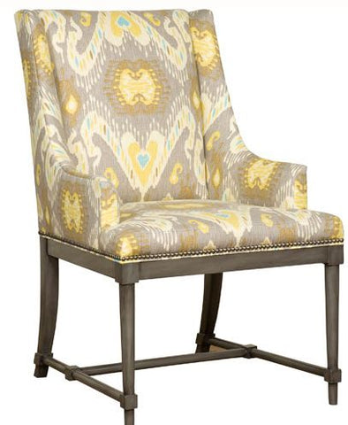 marley arm chair shown with taupe, yellow and aqua fabric that has been discontinued shown in gray finish with a nailhead border