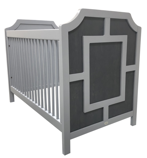 carter crib shown in dark gray panel with white rectangle frame on headboards