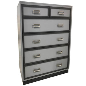 carter tall chest shown in light gray with dark gray around drawer fronts shown with satin rectangle drawer pull hardware and has six drawers