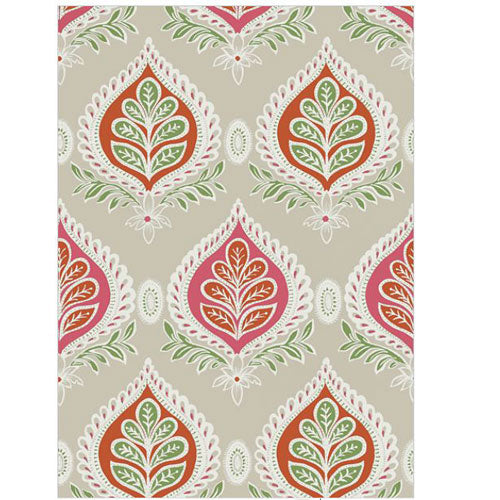 marielle wallpaper in pink with leaf pattern with coral accents on beige background