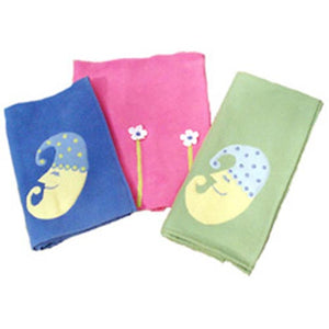 custom polar fleece blankets shown blue with half moon with sleeping cap in blue with yellow polka dots, pink with tall white flowers and green with half moon with light blue sleeping cap with blue polka dots