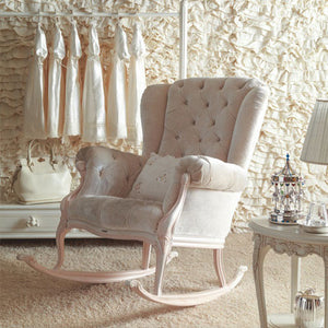 natalya rocker in antique white with pink finish with neutral accent pillow