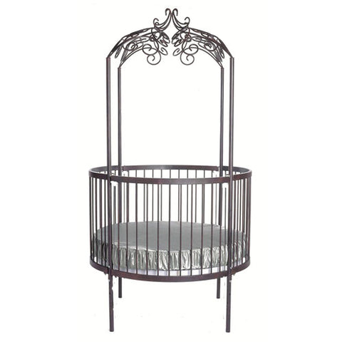 martinez round crib shown in pewter with scroll design at canopy