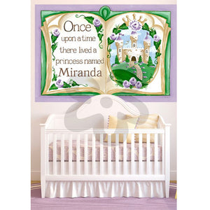open storybook wall decal shown in nursery over white crib personalized with Miranda