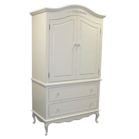 emerson armoire shown in cameo white with beaded border detail around drawer fronts and floral applique at top