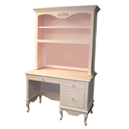 emerson desk and hutch shown in ballet pink with two drawers on the right and one desk drawer on the left where the chair goes