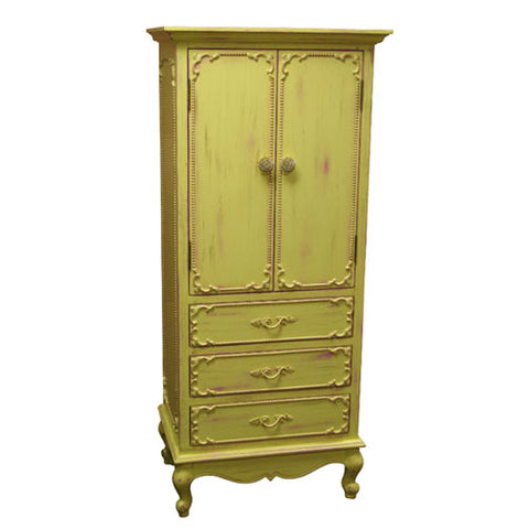 emerson cabinet shown with two doors and three drawers with beaded border appliques around doors and drawers shown in a lemon lime finish with wooden knobs