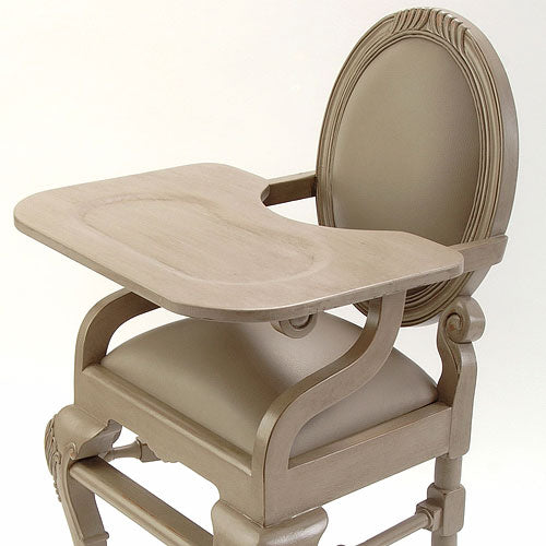 close up of distressed gray highchair showing tray detail