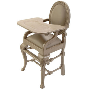 distressed gray oval highchair shown at an angle