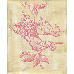 birdie canvas in pink shown with two birds singing on tree limbs in pink on neutral canvas background