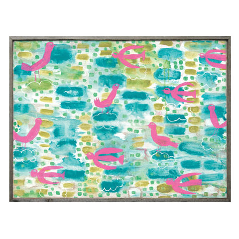 I Spy Pink Bird Art shows eleven bright pink birds set on top of an aqua and pea green background that is framed in a gray frame