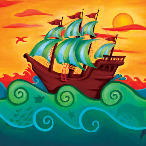 ahoy pirate ship canvas featuring a brown pirate ship with green and white striped flags over a golden sunset background