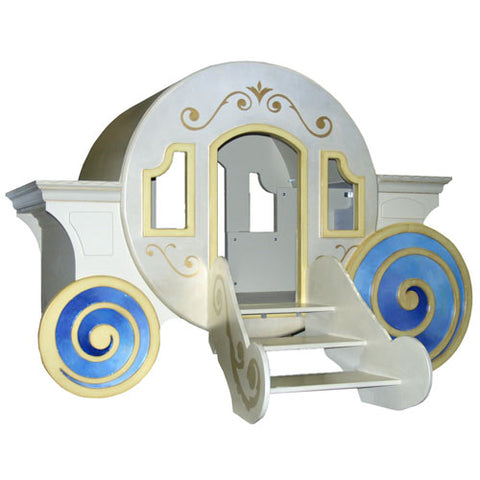 veruca's carriage bed shown with circle carriage design and big swirly whimsical wheels with three steps