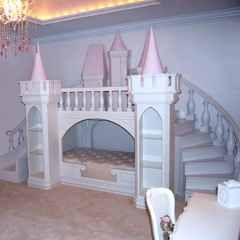 lola's castle shown in white with pink accent colors showing a castle with bed below and play area at the top with slide to the left and stairs to the right.
