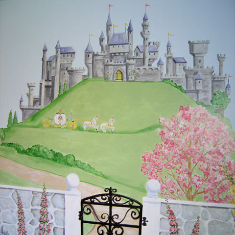 a princess home is a cutomized mural showing a giant gray castle  on a hill with carriage and horses with a gate and black iron entrance