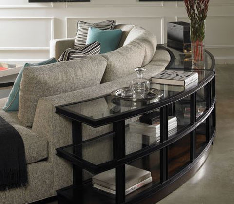 rachel console table with glass with black metal finish with glass knobs mounted on supreme walnut base
