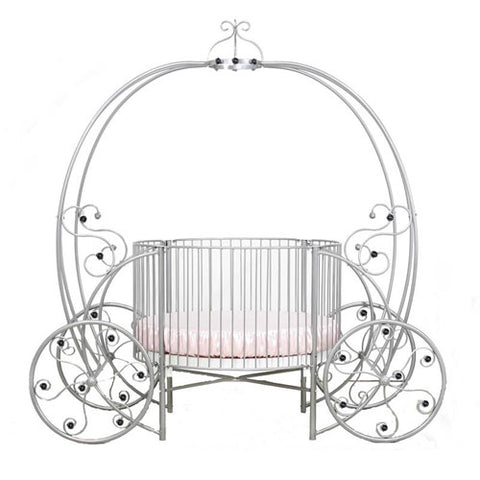 saoirse round crib shown in silver finish with grand pumpkin carriage design