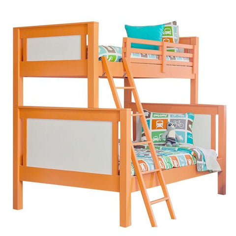 maxwell bunk bed shown in orange juice and white twin over full with ladder on the left with blue, orange, green and white bedding