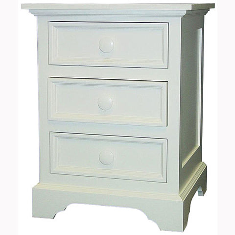 brody night stand with three drawers shown in white with round wooden knobs with beadboard on the sides