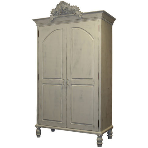 clementine armoire shown with beaded molding bordering crown molding with large rose applique at top in swiss coffee finish