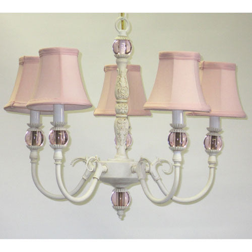 close up of greta chandelier showing white base with glass ball accents and pink shades
