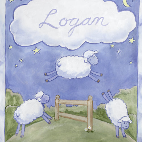 close up of counting sheep personalized with Logan in white cloud