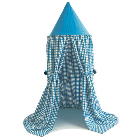 blueberry gingham hanging tent shown with solid blue top and blue and white gingham body showing doors tied to the left and right
