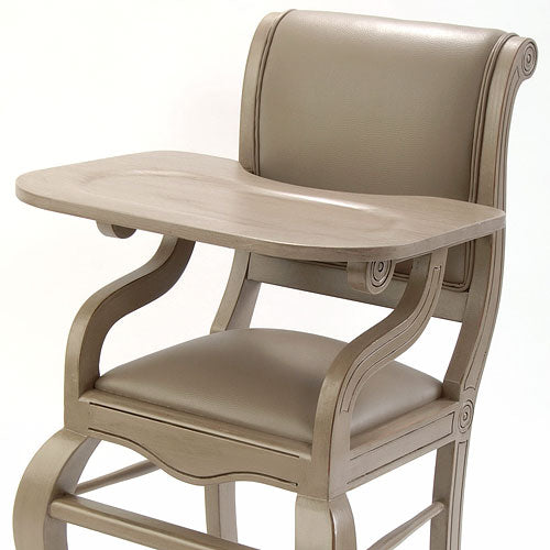 close up of highchair in distressed gray shown with matching vinyl seat