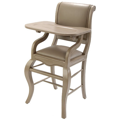sleigh highchair in distressed gray with matching vinyl is shown at an angle